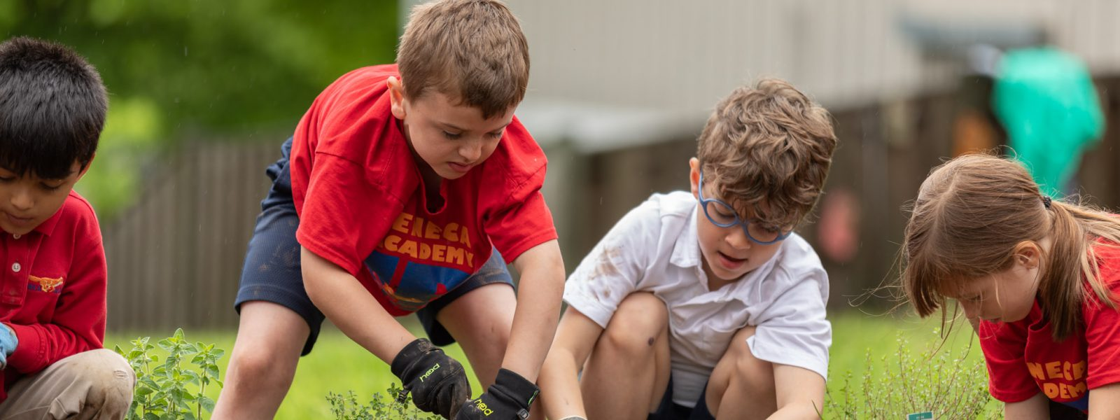 Elementary students gardening outside