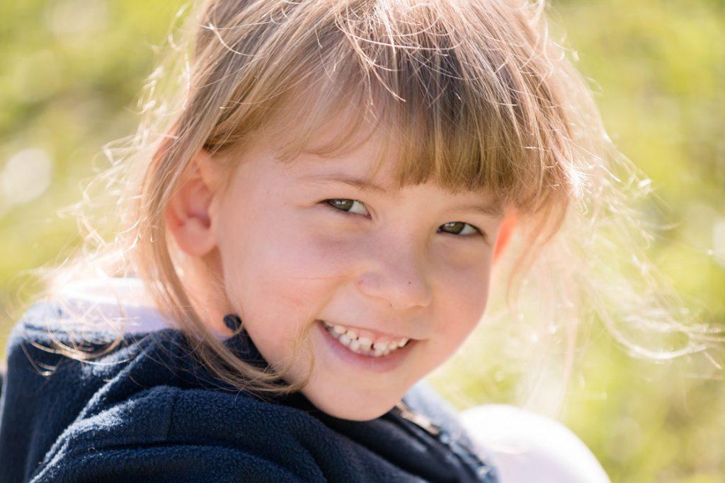 Elementary girl smiling